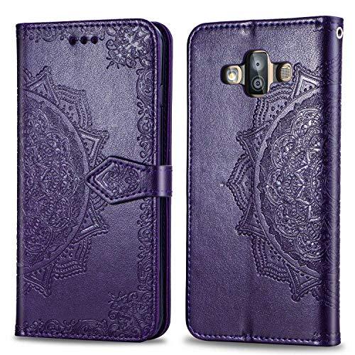 Bear Village Hülle für Galaxy J7 Duo, PU Lederhülle Handyhülle für Samsung Galaxy J7 Duo, Brieftasche Kratzfestes Magnet Handytasche mit Kartenfach, Violett