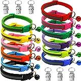12 collari per gatti e 6 ciondoli con chiusura di sicurezza, collare per gatti con campanellini, regolabile da 19 a 32 cm, riflettente, per cani di piccola taglia