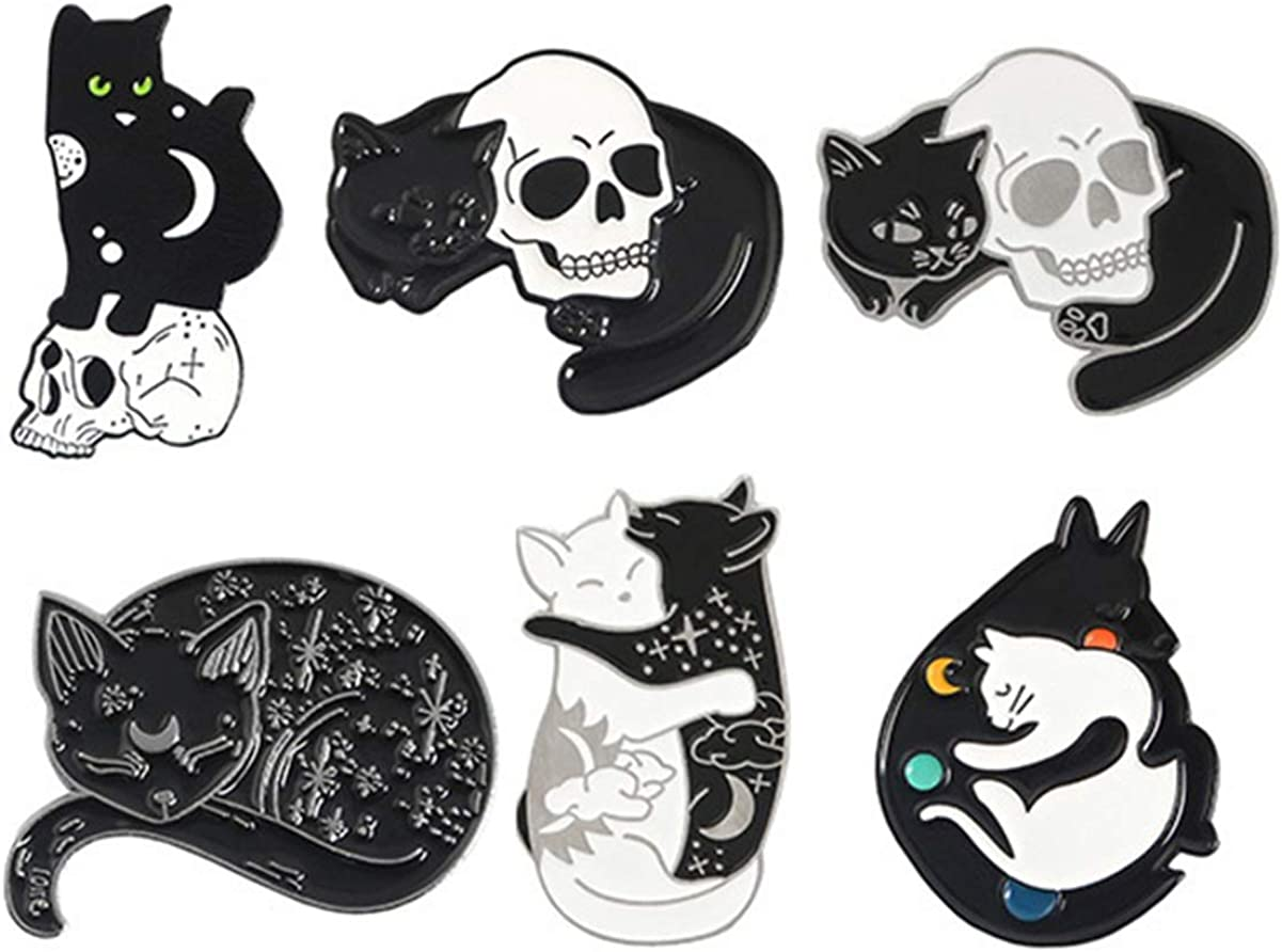 Holibanna 6Pcs Cartoon Lapel Pin Skeleton Romantic Animal Punk Metal Skull Lapel Pin Pin Brooch Badge for Clothes Backpack : Arts, Crafts & Sewing