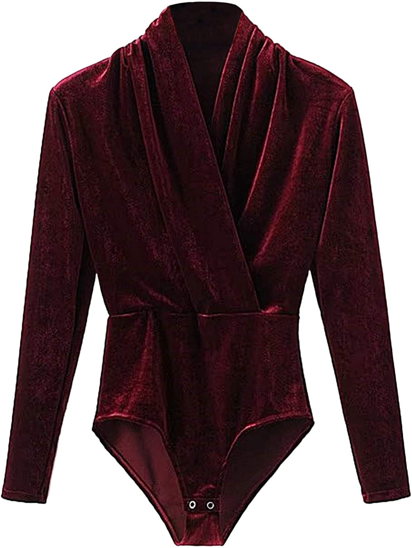DIDK Women's Beaded Shoulder Surplice Velvet Bodysuit