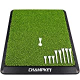 Champkey Premium Synthetic Turf Golf Hitting Mat | Heavy Duty Rubber Base Golf Practice Mat | Come with 1 Rubber Tee and 9 Plastic Tees