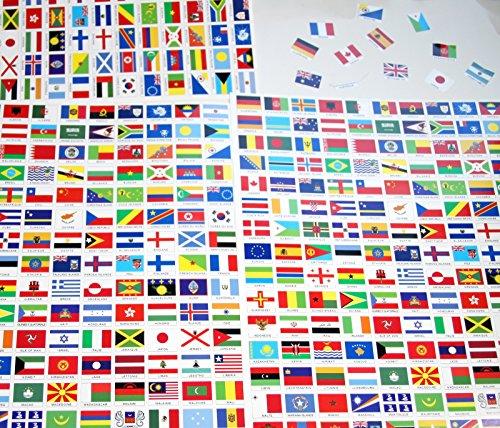 242 Aufkleber, verschiedene Länder, Inseln & Territorien, Vinyl, selbstklebend, 10 x 15 mm.