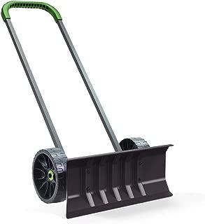 Vertex Heavy Duty 30 Inch Bi-Directional Rolling Easy Flip Snow Shovel Push Plow on Wheels - EZ Ergonomic Pusher for Clearing Driveways & Sidewalks - Made in USA Model P771