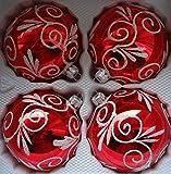 Glänzende Rote Weinachtskugeln aus Glas mit weiß Glitzernden Applikationen Durchmesser 10 cm 4er Set