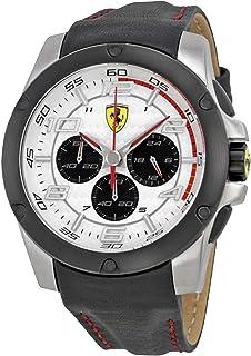 Ferrari Scuderia Paddock Chronograph White Dial Black Leather Mens Watch 830031