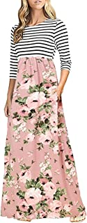 Women's Striped Floral Print Elastic Waist 3/4 Sleeve Maxi Dress with Pockets