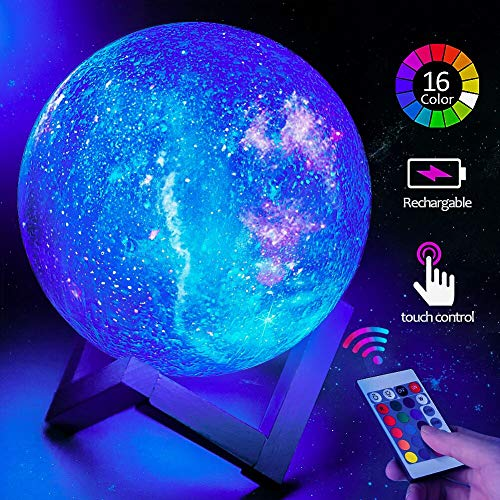 toyuugo Moon Lamp (5.9 Inch) Star Light Kids Night Light Galaxy Lamp 16 Colors LED 3D Star Lamp with Wood Stand, Touch &...