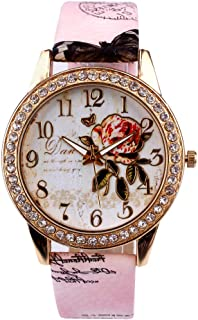 Eduavar Womens Watches Sale Clearance Women Flower Analog Quartz Watch Fashion Wrist Watch Casual Business Bracelet Watches Gift Round Dial Case Leather Stainless Steel Band Watches