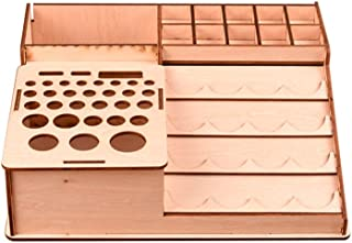 Wantis Wooden Paint Bottles Rack Model Organizer Stand Holder Epoxy Tools Storage Box for Hobbies