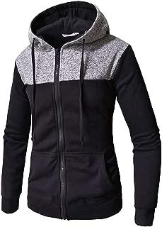 Mens Simple Patchwork Hoodies Shirt Casual Long Sleeve Zipper Slim Pocket Fit Hoodies Blouse Autumn Winter Tops