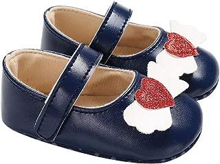 yuye-xthriv Heart Wings Infant Baby Girls Princess Soft Anti-Slip Prewalker Toddler Shoes Blue 13(8-11M)