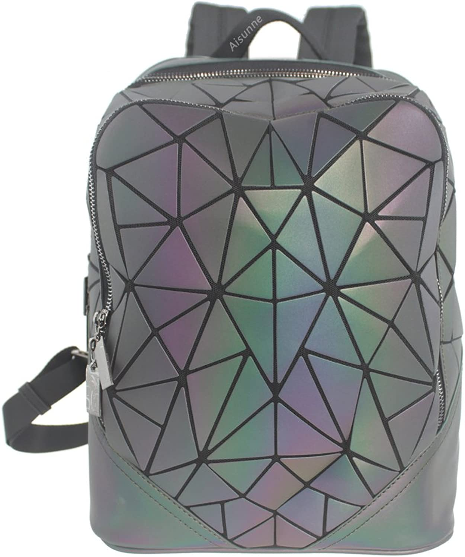 Aisunne Geometric Shard Lattice Luminous shoulder Backpack Handbags Leather Women Fashion Backpacks