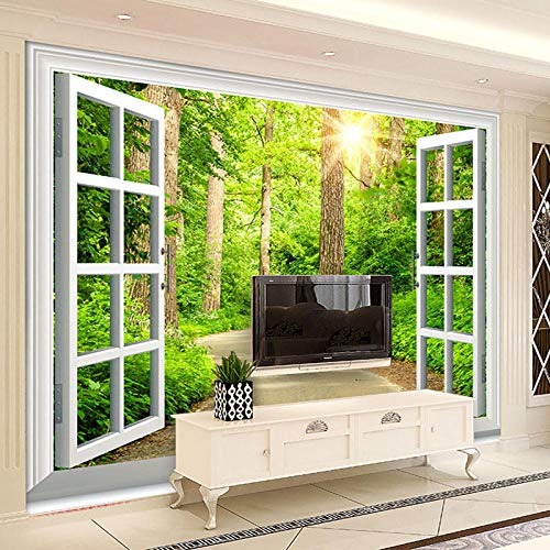 Benutzerdefinierte 3D Wallpaper Sunshine Forest Road Fenster Landschaft Wohnzimmer Hintergrund Wallpaper