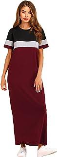 Shein Women's Colorblock Short Sleeve Round Neck Summer Loose Tee Maxi Dress