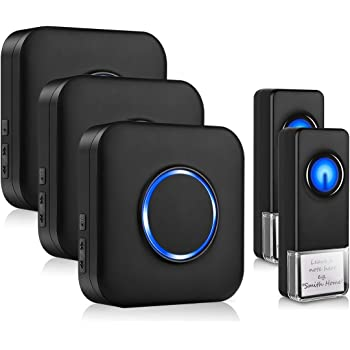 Wireless Doorbell YINXN IP55 Waterproof Door Bell with 2 Push Buttons /& 2