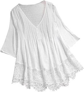 Boomboom Women Vintage Jacquard Lace Hem V-Neck Tops Tunic Shirts Plus Size Linen Blouse Size M-5XL