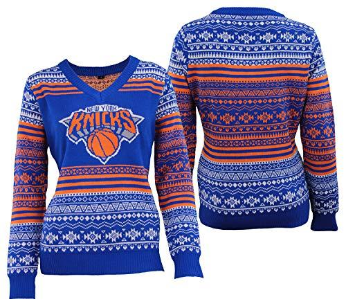 NBA Womens New York Knicks Big Logo Aztec V-Neck Sweater - Womens Medium image