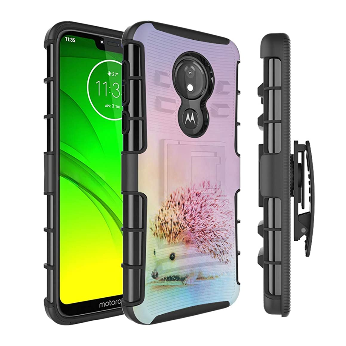 Moriko Case Compatible with Moto G7 Power, Moto G7 Supra [Kickstand Holster Combo Heavy Duty Protection Case Black] for Motorola Moto G7 Power - (Hedgehog)