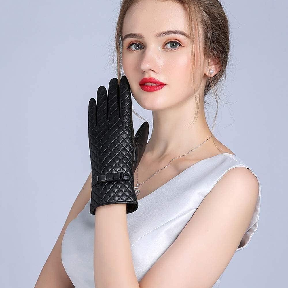 ACCDUER Men's Gloves Women's Genuine Leather Gloves Thickened and Cashmere Goatskin Rhombic Bow Sheepskin Mitten Fashion Female Windproof Glove Warm Winter Touch Screen Gloves Driving Gloves