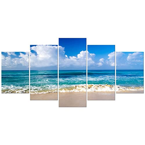 4b7945e4f81 Pyradecor Seaside Extra Large Canvas Prints Wall Art Ocean Sea Beach  Landscape Pictures Paintings for Bathroom