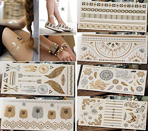 BlueSpace Temporary Tattoos for Women Metallic Boho Henna Body Tattoo Stickers 6 Large Sheets Gold Silver Glitter Flash Fake Waterproof Tattoos for Women Girls