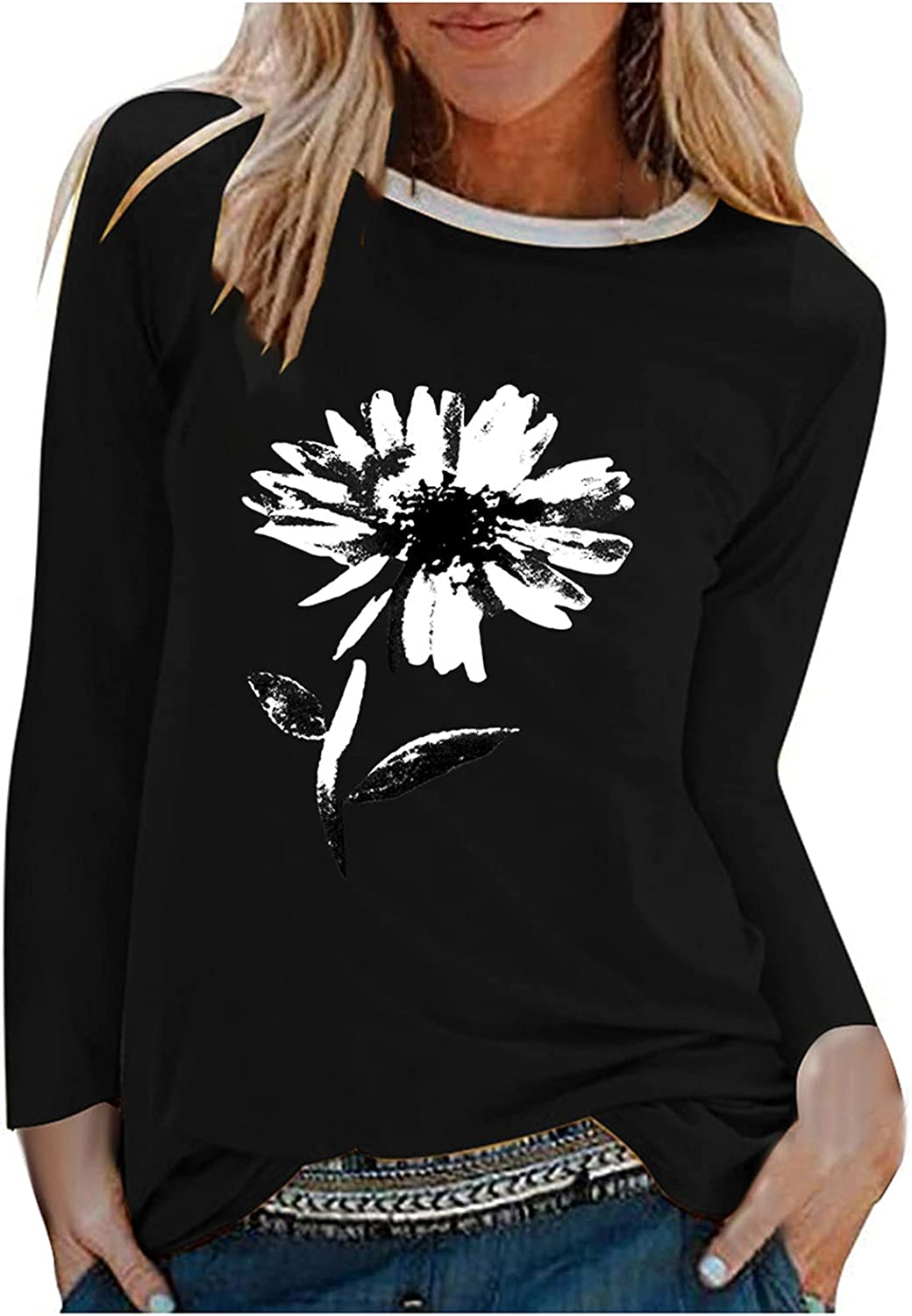 Women's Casual Floral Print T-Shirt Round Neck Long Sleeve Loose Stitching Tops Sweatshirt