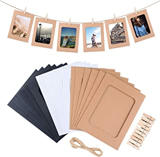 Paper Picture Frame, 30pcs Kraft Photo Frames for 4x6in Photo, Photo Hanging Display Frames for Wall Decoration DIY with 30 Clips and 3 Ropes by LEJHOME