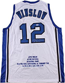 7f789d3bcb4 Justise Winslow Signed Duke Blue Devils Career Highlight Stat Jersey  (PSA DNA)