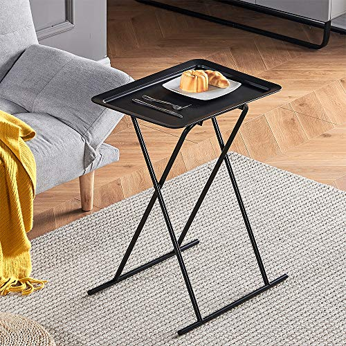 QIHANG-UK Compact Folding End Table, Collapsible Sofa Side Table for Small Space, Small Living Room Table Bedside Table Breakfast Table with Metal Frame, Black