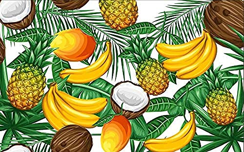 Tapete 3D Wandbild Hauptdekoration Plakate Tropische Obstpflanze Grünes Blatt Fototapete-300 cm × 210 cm (Bxh)