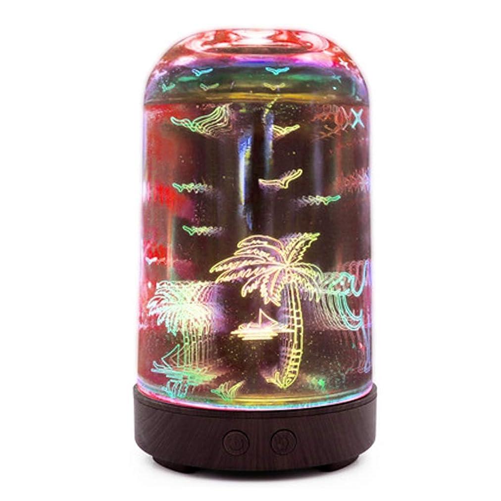 受粉する石油ハンディすばらしいLEDライト、便利な自動操業停止および大きい水漕が付いている3Dガラス100mlギャラクシー優れた超音波加湿器 (Color : Coconut tree)