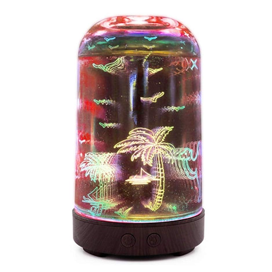 手配するドライブ独裁者すばらしいLEDライト、便利な自動操業停止および大きい水漕が付いている3Dガラス100mlギャラクシー優れた超音波加湿器 (Color : Coconut tree)