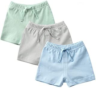 Unisex-Baby 3-Pack Cotton Soild Color Short with Drawstring 3-24 Months