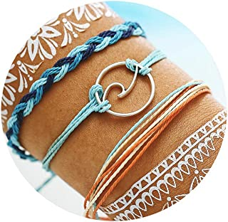 FINETOO Orange Wave Braided Rope Bracelet Set Handmade Waterproof Wrap Bracelet for Woman Girl Gifts