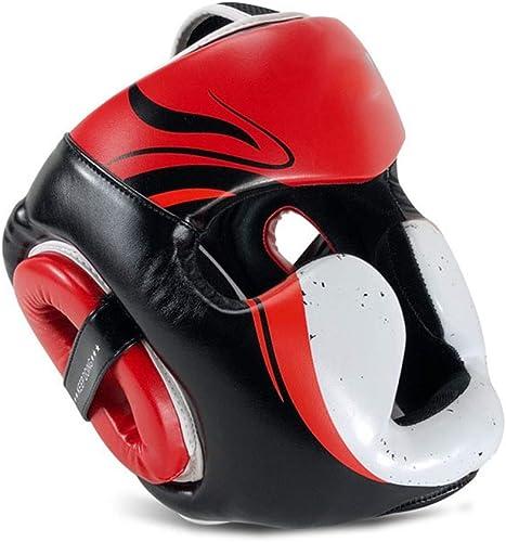 DMMW Couvre-Chef de Boxe Sports Boxing Head Guard Sparbague Muay Thai Couvre-Chef Kickboxing MMA Coup de Pied Brace Prougeection de la tête Prougeecteur de tête (Couleur   Rouge, Taille   L)