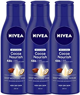 Nivea Oil in Lotion Cocoa Nourish, 200 ml (Pack of 3)
