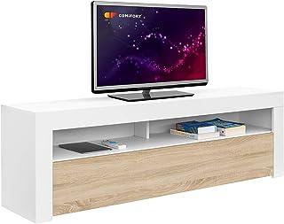 Comifort AP84B/S – Mueble TV Salón Moderno Mesa Televisión Colores: Blanco Blanco/Roble Roble Medidas: 160x35x50 Cm (B...