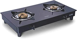 GLEN 2 Burners Stainless Steel, Brass Gas Stove 1020 GT Black Cooktop