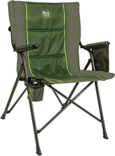 Timber Ridge Camping Folding Quad Chair Support 300lbs with Carry Bag Outdoor Lightweight, Padded Armrest, Cup Holder