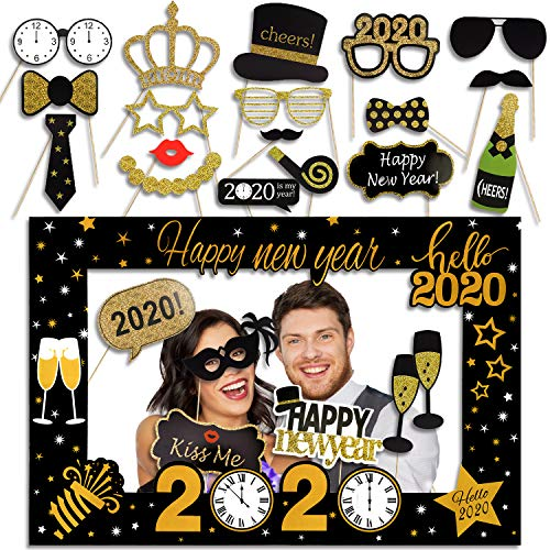 Qpout 2020 Feliz Nochevieja Photo Booth Prop Frame Gold Negro Navidad/Invierno/Festivo Año Nuevo Party Favors Holiday Decorations Supplies Assembly Needed