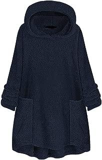 Women's Plus Size Pocket Plush Outwear Tops Loose Solid Color Winter Hooded Sweater Sweatshirt