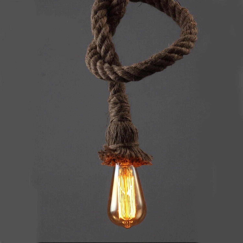 Die Beleuchtung Lampe Vintage Retro Pendelleuchte Seil Loft Restaurant mit Innenbeleuchtung (Gre  100cm)