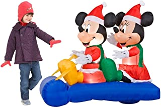 5 ft. Airblown Lighted Mickey and Minnie's Sled Scene Holiday Christmas decoration by Gemmy