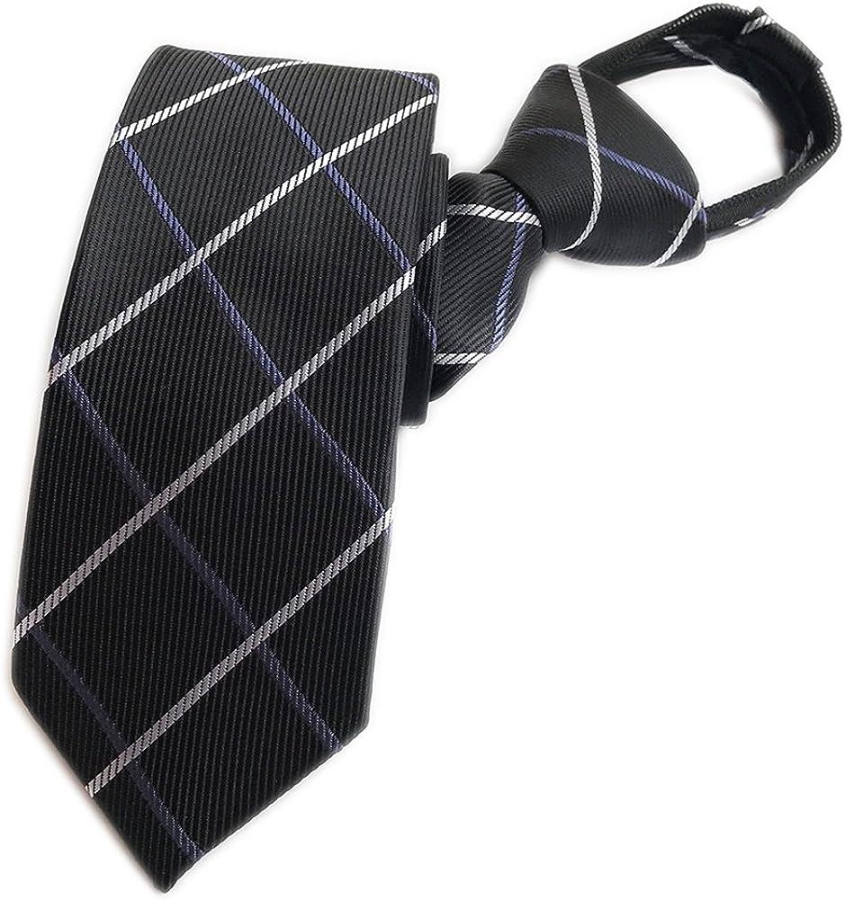 Elfeves Mens Zipper Tie Business Wedding Solid Checks Striped Microfiber Necktie
