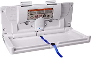 Karma Baby Wall Mounted Baby Changing Table Commercial Horizontal Fold-Down Diaper Changing Station with Secure Safety Straps for Commercial Bathrooms - White