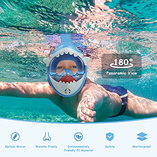 Glymnis Kids Snorkel Mask Full Face Snorkel Mask for Kids 180° Panoramic View Shark Design Anti-Fog Anti-Leak Safety Snorkeling Diving Mask with Storage Bag and Anti-Fog Agent (Blue)