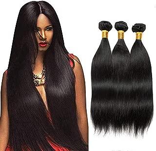 Bex Straight Hair Bundles 16 18 20 inch Total 3 Bundles - 100% Unprocessed Brazilian Human Hair Weave Soft 10A Grade Straight Bundles with Closure-Natural Black Color (ST 16 18 20)