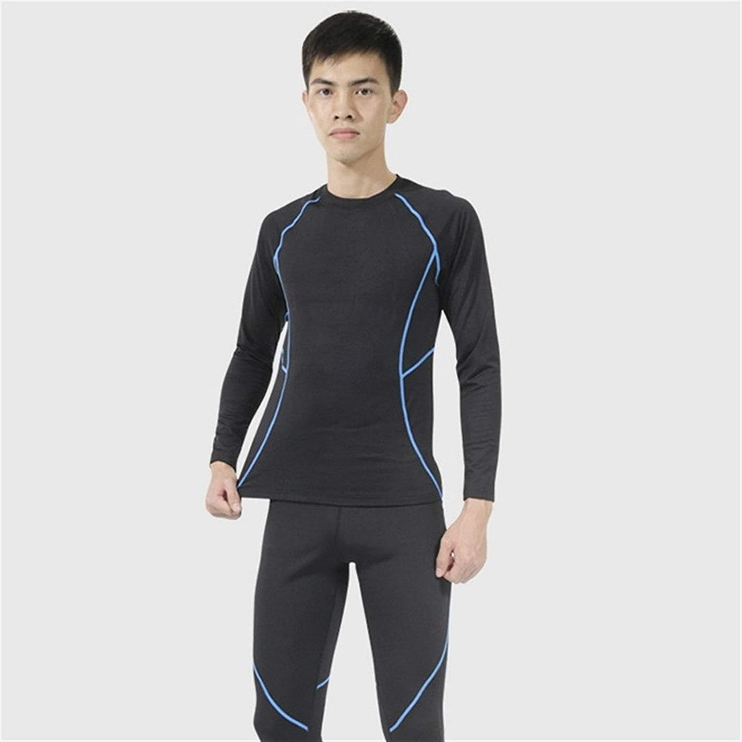 QWERBAM Winter Men Thermal Underwear Set Elastic Thick Warm Thermo Underwear Breathable Tights 3XL (Color : Blue, Size : L.)