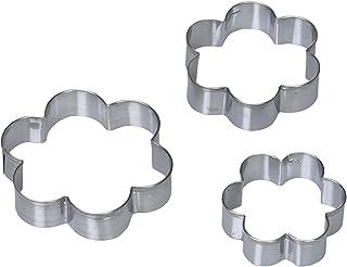 cotta cotta クッキー型 花(3個セット) シルバー 7.5×H1.6cm、6×H1.6cm、5×H1.6cm 91953
