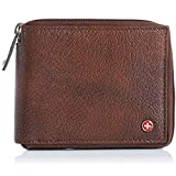 Alpine Swiss Mens Leather Zip Around Wallet ID Card Secure Zipper Bifold Antique Brown